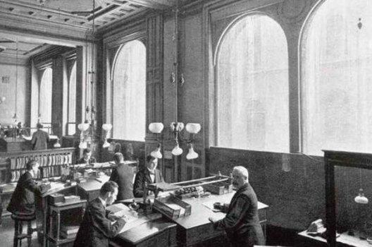 Historisk bilde av kontorlokalene til Storebrand på starten av 1900-tallet